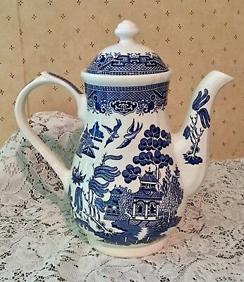 "Blue ""WILLOW"" Coffee Tea Chocolate Pot Lid by Churchill England Pristine Cond!"