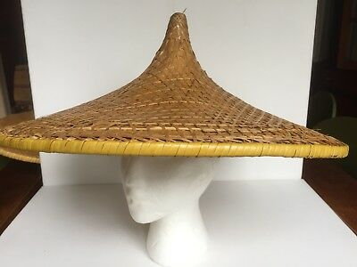Vintage Asian COOLIE HAT_Conical Rice Patty Farmer_Bamboo Straw Conical Hat