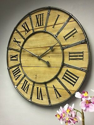 LARGE Industrial retro vintage chic style round metal wood wall clock 66cm