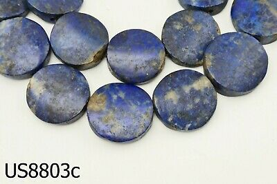Ancient Egypt Style BRIGHT BLUE Lapis w/Pyrite Carved Coin Bead Strand #8803