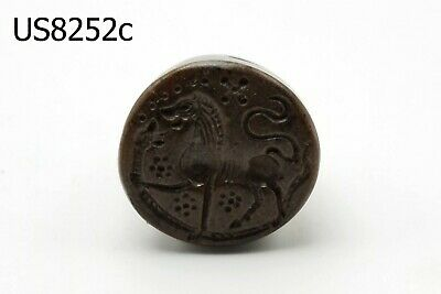 Ancient Roman Majestic LION Carving Intaglio Agate Dome Stamp Bead #8252