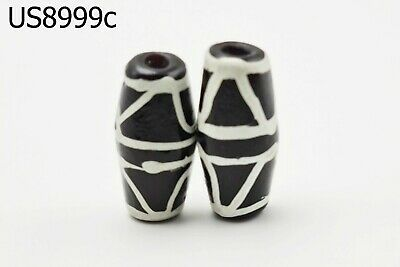 Lot 2 White&Black Stripe Islamic Paste Glass Mosaic Bicone Beads Decorated #7729