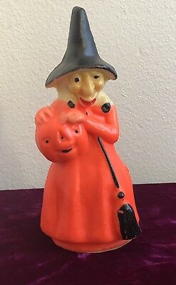"FUN Vintage 1960's HALLOWEEN Decoration GURLEY Candle Large 8""  WITCH"