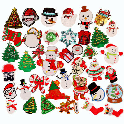 Christmas Patches Tree Xmas Snowman Reindeer Iron on Embroidery Patch Sew Badge