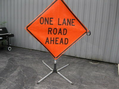 """ONE LANE ROAD AHEAD Road Work Construction Sign & Folding Base 48"""" X 48"""" Utility"""