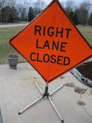 """RIGHT LANE CLOSED Road Work Construction Sign & Folding Base 48"""" X 48"""" Utility"""