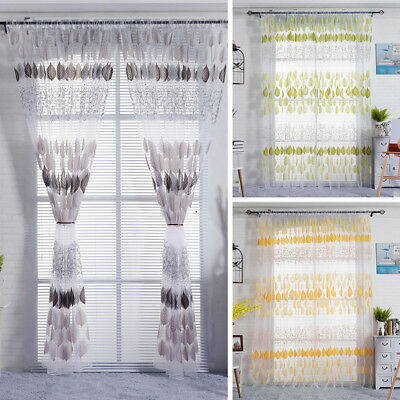 AC_ LC_ Leaves Pattern See-through Rod Pocket Window Curtain Drape Home Decor Ni