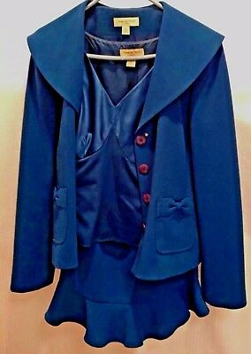 Womens Amanda Smith 3 PC Suite Jacket Skirt Top Teal Blue 100% Polyester Size 6