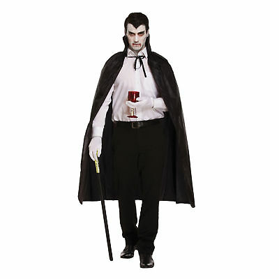 Adult Vampire Black Cape With Collar Halloween Fancy Dress Party Costume Gift Uk