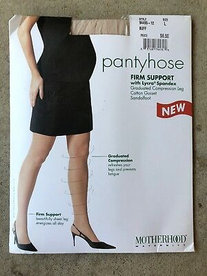 Motherhood Maternity Pantyhose Firm Support Size L Buff Color
