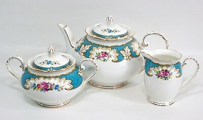 Royal Grafton Bone China Academy Blue Teapot Sugar Creamer England RARE!!!