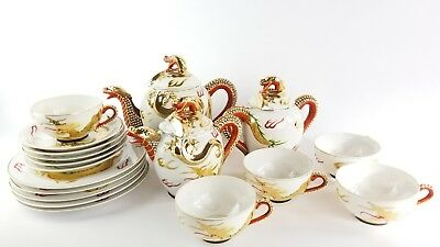 Japanese Satsuma Moriage Immortals Dragon Porcelain Tea Set Lithopane Geisha