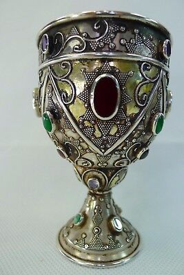 stunning antique / vintage silver cup with authentic semi precious stones