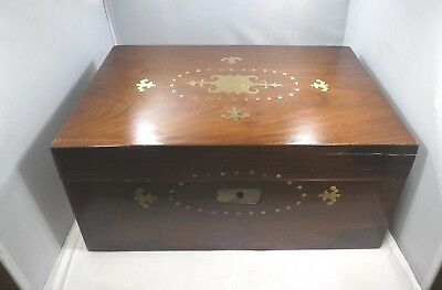 19Th Century Anglo Indian Rosewood & Brass Inlaid Writing Lap Desk