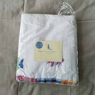 Pottery Barn Embroidered Crib Skirt Bermuda Fish w/ Madras Boarder Retired NWOT