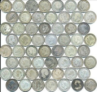 56 Old Silver Six 6 Pence Coins From Great Britain 1816-1945