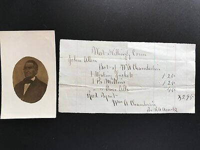 Photograph of John Allen and Receipt from Willima A. Chamberlin Killingly CT