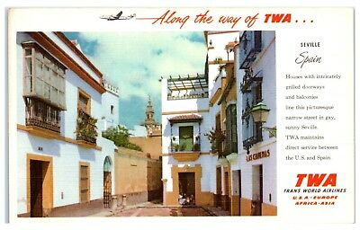 Along the Way of TWA Trans World Airlines Seville, Spain Postcard