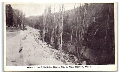 1942 Winsted to Pittsfield, Route No. 8, New Boston, MA Postcard
