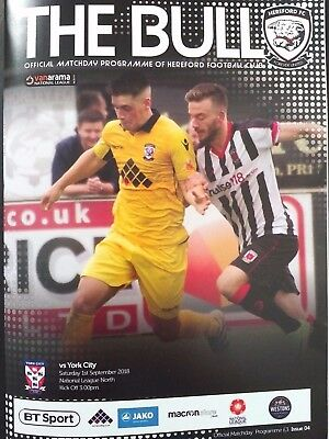 Hereford v York City 1/9/2018 Vanarama National League North Rare Mint condition