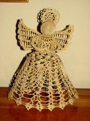 """Vintage Tree Top Christmas Angel Hand Crochet Starch 10.5"""" Tall Gold"""