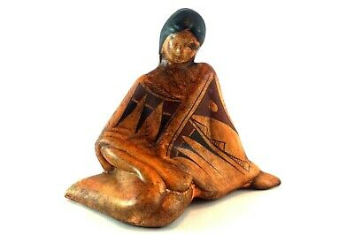 Ceramic Native American Sitting Woman Figurine Mexico Decor
