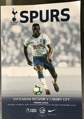Totenham hotspur v Cardiff city official premiership match day programme 6/10/18