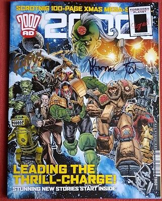 Signed in person dredd 2000AD XMAS SPECIAL PROG #2061 SIGNED BY 5 New 2017 new