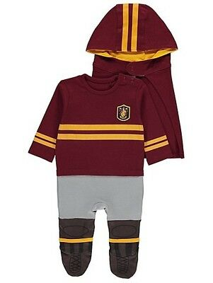 Halloween Harry Potter Quidditch All-in-One Hat & Hooded Cape 3-6m Outfit Wizard