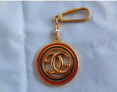 d9b3cea47 GUCCI Authentic GG Logo Gold Plated Red Green Key Chain Fog Purse Charm  Vintage