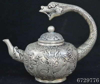 Chinese Collectable Handwork Miao Silver Carve Mighty Dragon Exorcism Tea Pot