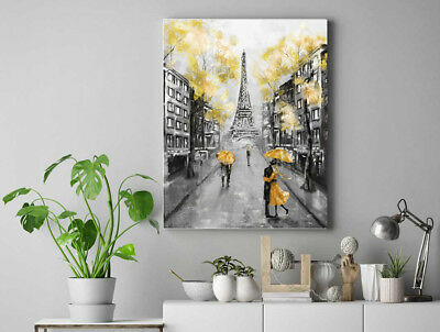 Yellow black and white Paris Painting Bathroom Framed Canvas Print Wall Art pp94