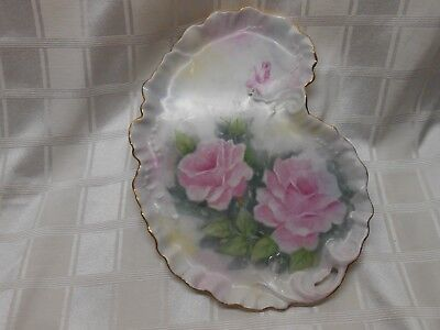 Fancy Porcelain Serving plate Dresser Tray Cut Out Handle Pink Roses Shabby Chic