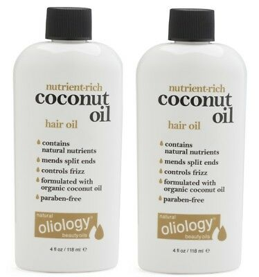 Lot of 2 Oliology Coconut Oil hair Oil  Controls Frizz Split Ends 4 oz each