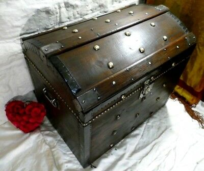 Large Vintage Dome Trunk Luggage Chest Steamer Trunk Brass Studs Lock & Key