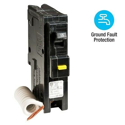 Square D Homeline 15 Amp Single-Pole GFCI Circuit Breaker HOM115GFIC