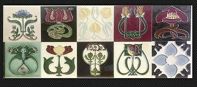 10 x INDIVIDUAL ART NOUVEAU Fireplace TILE TUBELINED MAJOLICA Kitchen Splashback