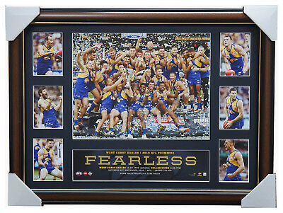 2018 Premiers West Coast Eagles AFL Official Deluxe Fearless Tribute Print Frame