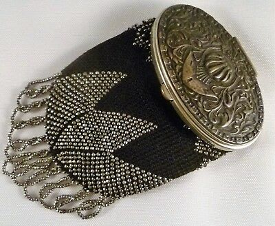 Late 19th Century Aesthetic Movement Sm Handbag Decorated Metal Lid Black Mesh