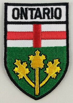 Ontario Province Shield Crest Patch Embroidered Iron On Sew On