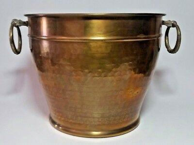 """Vintage Brass Urn Plant Holder Planter Double Rings 7.5"""" Tall Great Patina"""