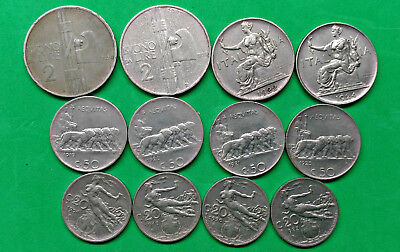 Lot of 12 Different Old Italy Coins 1908-1925 Vintage Italian  !!
