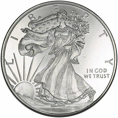 WALKING LIBERTY: 1/2 Troy Oz .999 FINE SOLID SILVER ART-ROUND (new) Golden State