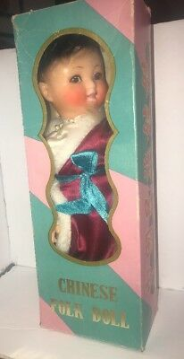 """Vtg Chinese Folk Doll Rubber Face W/ Box Peoples Republic Of China 12"""""""