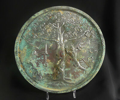 "Ancient Chinese Tang Dyn. 7"" Bronze Lunar Moon Immortality Mirror ""Jade Rabbit"""