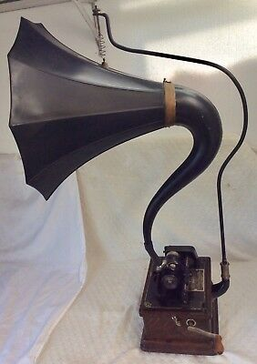 EDISON antique •FIRESIDE A 2/4 minute cylinder PHONOGRAPH• with old CYGNET HORN