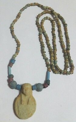 "USHABTI, Egyptian Necklace Mummy Beads Pharaoh's Amulet Hand Beaded, 30""/C"