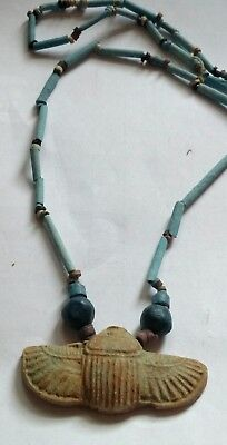 "Egyptian Pharaoh's Necklace, Mummy Beads Terracotta 34"", Beetle Scarab/T"