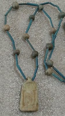 "Egyptian Pharaoh's Necklace, Mummy Beads Terracotta 32"",. AMARNA Amulet, /A9"