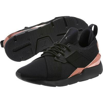 PUMA MUSE METAL Athletic Shoe Black Rose Gold size 7.5 ART 36704701 ... f0b1687be